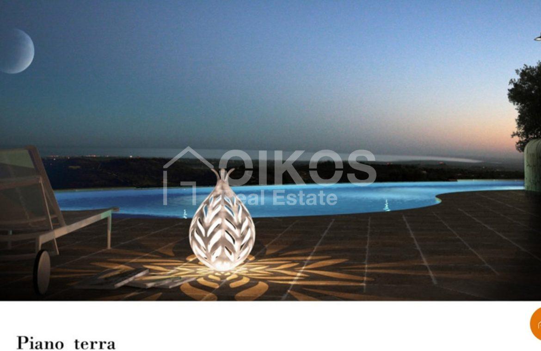 Villa con piscina vista mare
