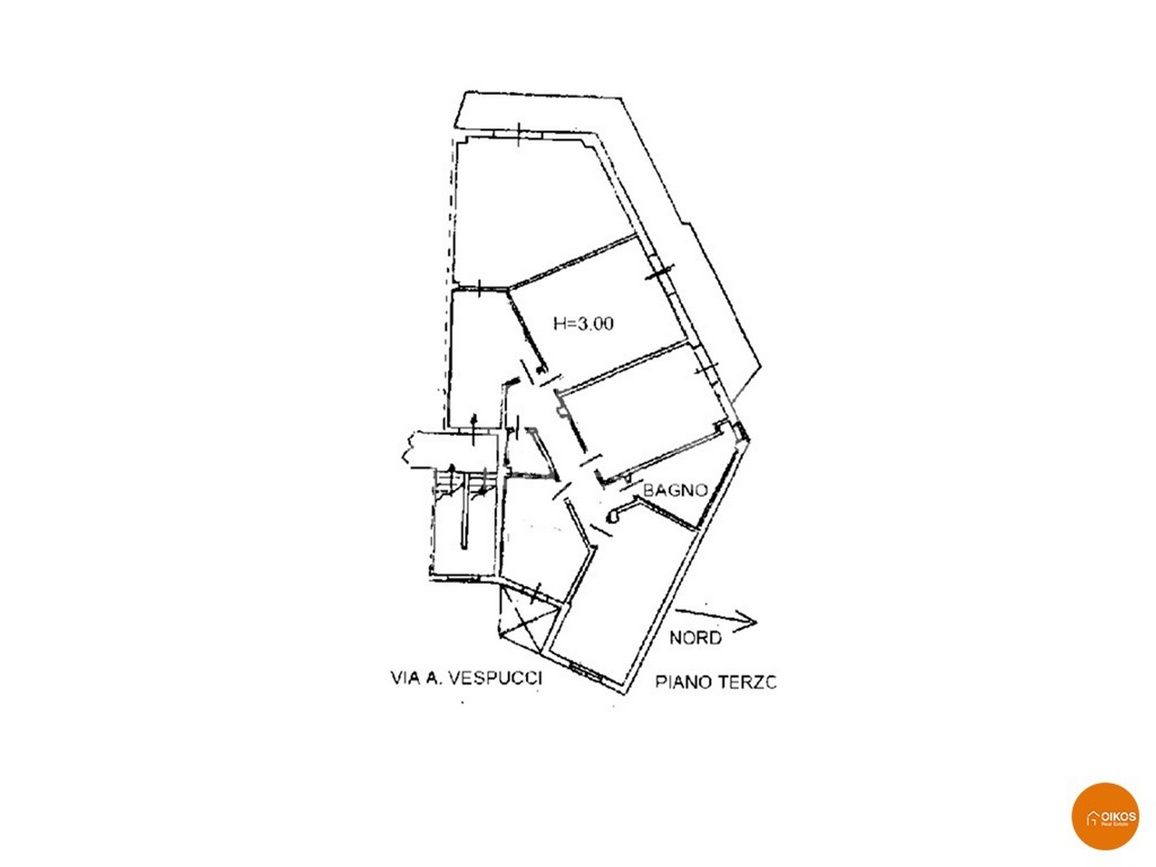 Appartamento con ascensore in via Vespucci planimetria